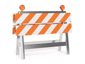 3d render of under construction barrier with road cones — Stock Photo