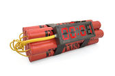Explosives with alarm clock last second detonator isolated on wh — Stock Photo