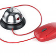 Reception bell with red computer mouse. Service concept — Stock Photo #64553019