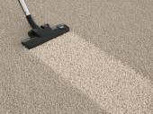 Vacuum cleaner hoover on dirty carpet. House cleaning concept — Stock Photo