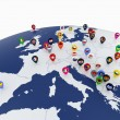 Europe map with countries flags location pins — Stock Photo #68267233