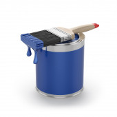 Blue paint in the opened can with brush. Renovation concept — Stock Photo