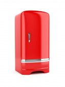 Rendering of red refrigerator, isolated on white background — Stock Photo