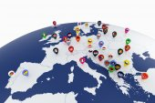Europe map with countries flags location pins — Stock Photo