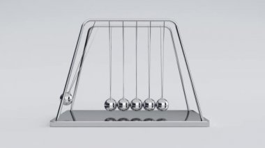 3d animation of newton's cradle with alpha channel at the end of the clip — Stock Video
