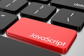 Red Enter button with machine code language Javascript — Stock Photo