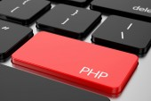 Red Enter button with machine code language PHP — Stock Photo