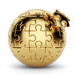 Golden spherical puzzle with one piece disconnected — Stock Photo #76718653