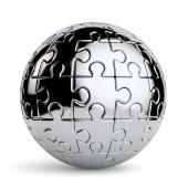 Spherical jigsaw puzzle isolated — Stock Photo