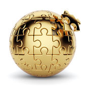 Golden spherical puzzle with one piece disconnected — Stock Photo