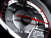 2016 year car speedometer — Stockfoto