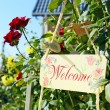Welcome sign hanging on flowers — Stock Photo #53844827