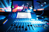 Audio sound mixer with buttons and sliders — Stock Photo