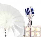 Retro styled microphone. Selective focus. — Stock fotografie