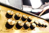 Professional audio sound equipment with buttons and sliders — Stock Photo