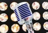 Retro styled microphone. Selective focus. — Stock Photo
