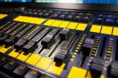 Audio sound mixer with buttons and sliders . A little of DOF. — Stock Photo