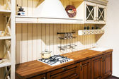 Kitchen hob with pans — Stock Photo