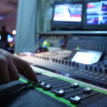Hand on professional audio mixer — Stock Video #69896625
