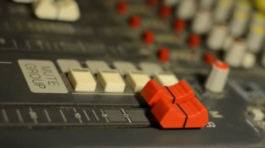 Close up Engineer mixing console recording studio — Stock Video