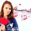 Woman holding red heart — Stock Photo #60137391
