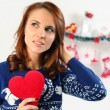 Woman holding red heart — Stock Photo #60137403