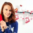 Woman holding red heart — Stock Photo #60137421