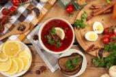 Russian borscht — Stock Photo