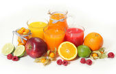 Sweet juice and fruits — Stock Photo