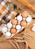 Eggs on wooden  — Stock Photo