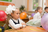 Little girl for the first time in school — Stock Photo