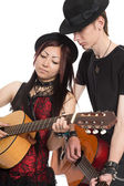 Young musicians with guitars — Foto Stock