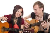 Portrait of diverse young couple music — Stock Photo
