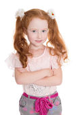 Six years old girl arms crossed — Stock Photo