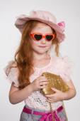 Red haired fashionista six years — Stock Photo