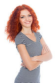 Happy smiling red haired girl  — Stock Photo