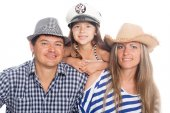 Happy family in hats — 图库照片