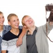 Friends take self on an old camera — Stockfoto #56438007