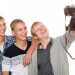 Friends take self on an old camera — Foto Stock #56438007