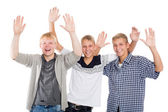 Joyful guys with their hands raised in greeting — Foto Stock