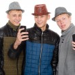 Friends posing for a self in autumn clothes — Stockfoto #56448483