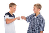 Two twin brothers greet each  — Stock Photo