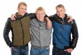 Friends peers in autumn jacket — Stock Photo