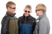 Group of young guys communicate  — Stock Photo