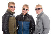 Guys in autumn jacket and sunglasses — Foto Stock