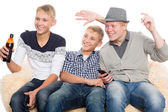 Boys watching programs on TV — Foto Stock