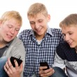 Three best friends use smartphones — Zdjęcie stockowe #56460263