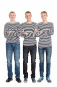 Guys in a striped shirts with arms crossed — Foto Stock