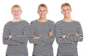 Smiling guys in a striped shirt with arms crossed — Foto Stock