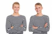 Two twin brother vests with arms crossed — Foto Stock